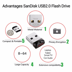 Image 5 - SanDisk Cruzer Fit CZ33 סופר מיני USB דיסק און קי 64 gb USB 2.0 sandisk עט כונן 32 gb זיכרון מקל עט כונני 16GB U דיסק