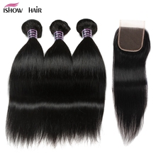 hot deal buy ishow hair brazilian straight human hair bundles with lace closure free part natural black 3 bundles hair weaves non remy hair