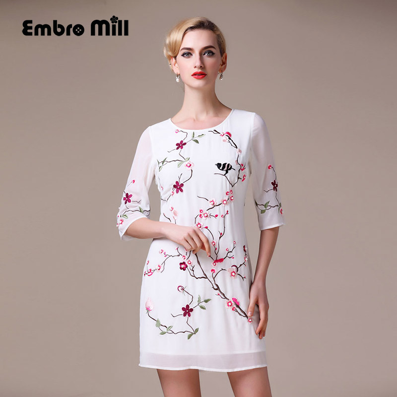 High end womens embroidered embroidered dresses summer for High end fashion websites