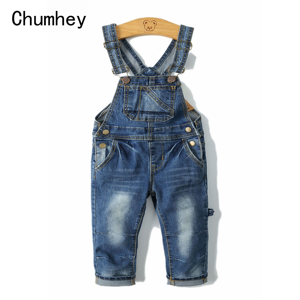 2 8T Spring Kids Overalls Slim Trousers Boys Girls Suspender Bib Denim Pants Kids Jeans Jumpsuit Clothes Children Clothing in Overalls from Mother Kids