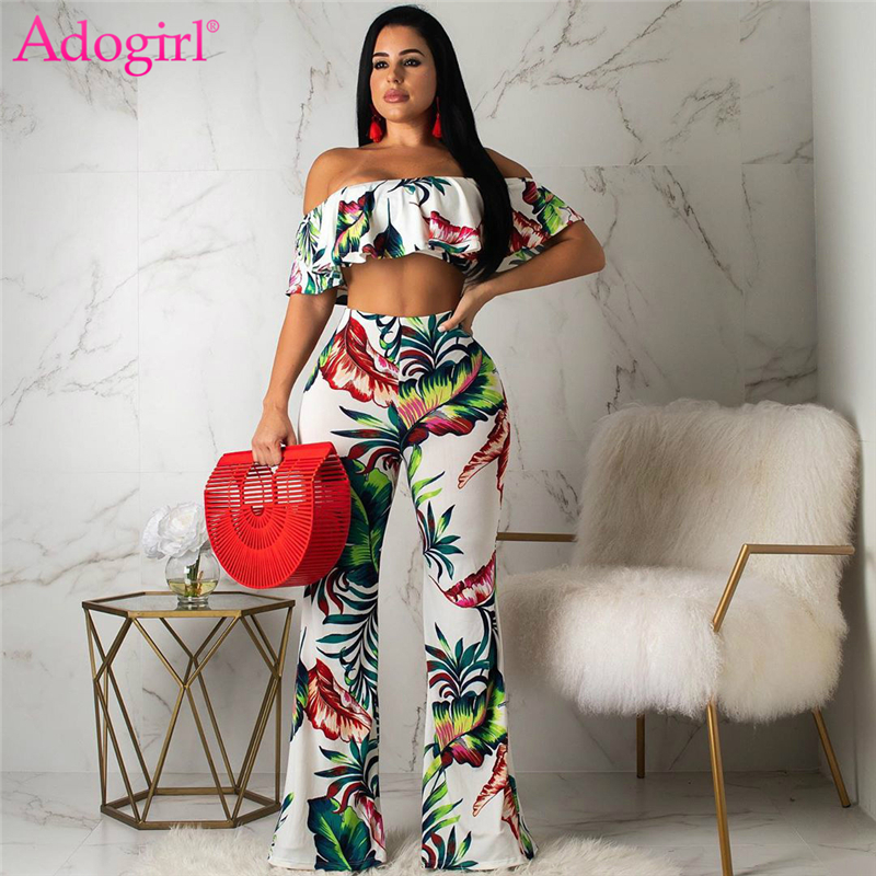 Adogirl Leaf Floral Print Fashion Casual Two Piece Set Ruffle Off Shoulder Crop Top Flare Pants Summer Suits Female Outfits