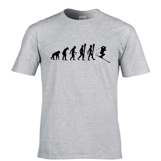 435ef480 Evolution of Snow Skis Cross Country men funny and cool T shirt regular fit  S to XX Large