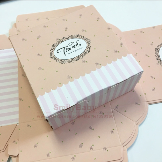 25pcs Thank You Gift Paper Box For Cake Biscuit Candy DIY Wedding Party