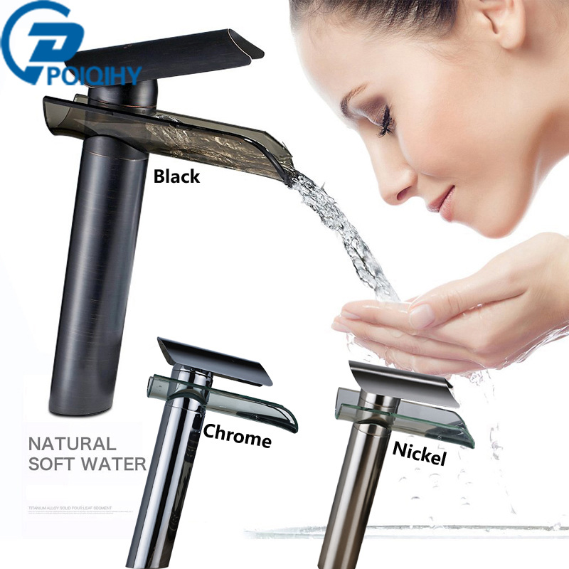 Glass Basin Bathroom Faucet Waterfall Deck Mount Mixer Tap Hot Brass Chrome & Orb & Brushed Nickel Morden Basin Sink Faucets bathroom faucet advanced modern glass waterfall contemporary chrome brass bathroom basin faucets sink mixer waterfall tap