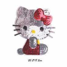 1 шт. Kitty Cat железная вышитая аппликация швейная нашивка для одежды наклейки с блестками diy аксессуары для одежды значок с героями мультфильмов
