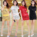 Women Sequins Jazz Dance Costume Ladies Hip Hop Dance Wear Sexy Stage Performance Clothing Set Short Sleeve Top+Shorts W722