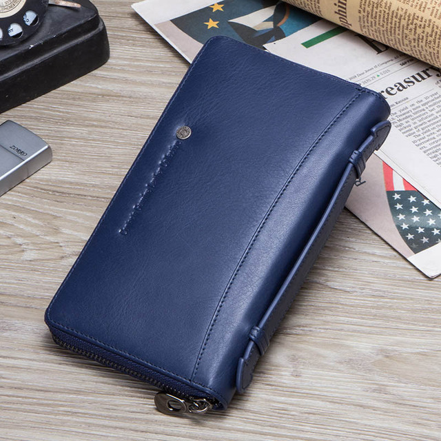 Contact's Cow Leather Men Casual Clutch Wallet Card Holder Zipper Purse With Passport Holder Phone Case For Male Long Wallet 4