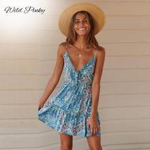 WildPinky Women Boho Floral Summer Bodycon Party Evening Beach Spaghetti Strap Mini Dress Sleeveless Printed V-Neck