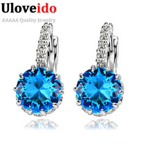 925 Silver Blue Stone Ruby Large CZ Diamond Crystal Earrings Cubic Zirconia Women Aneis Hot Product Boucle D'oreille Femme DML49