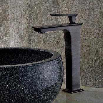 Homedec Designer Stylish Black Single Handles Square Basin Sink Mixer Tap Brass Faucet