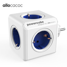 Allocacoc powercube multi socket EU plug electric power strip USB 5 outlets smart travel adapter Extension 16A 250V home use(China)