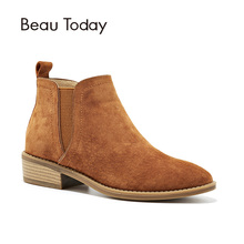 BeauToday Chelsea Ankle Suede  Round Toe Boots