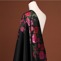 CF326 The New Fashion High Grade Big Roses Black Jacquard Fabric For Women Suit Coat Formal