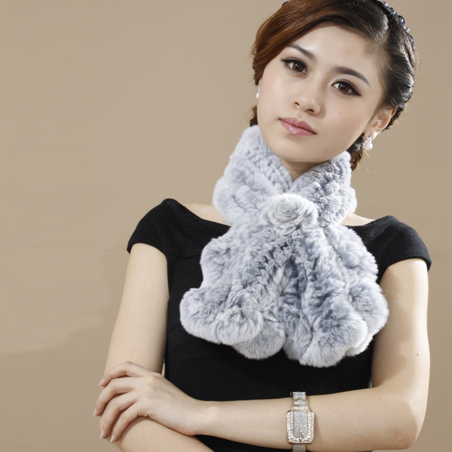 New Style Winter Scarves Women Real Rex Rabbit Fur Wraps High Quality Knitted Fur Scarf Female Free Shipping YSC039