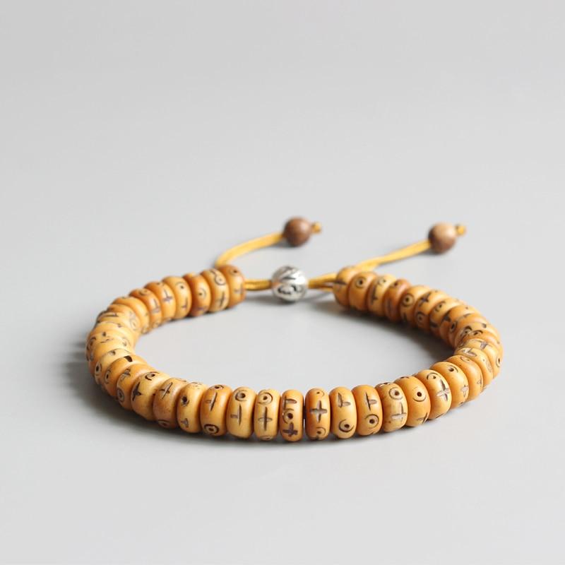 Eastisan 2017 8*3mm Beads Natural Retro Cross Yak Bone Tibtan buddhist Hand Braided Bracelet for Man Women Handmade Jewelry