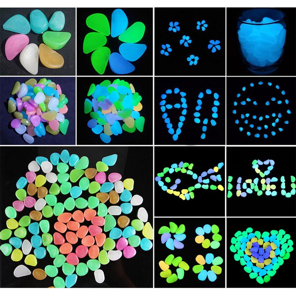 Pokich 100pcs Luminous Artificial Pebbles Glow In Dark Walkways Garden Fluorescent Artificial Stone For Aquarium Decoration