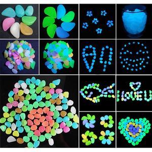 Image 1 - Pokich 100pcs Luminous Artificial Pebbles Glow In Dark Walkways Garden Fluorescent Artificial Stone for Aquarium Decoration