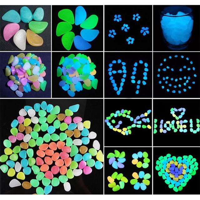 Pokich 100pcs Luminous Artificial Pebbles Glow In Dark Walkways Garden Fluorescent Artificial Stone for Aquarium Decoration