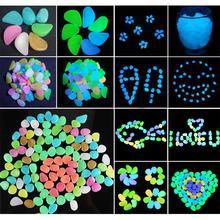 Pokich 100pcs świecące sztuczne kamyki świecą w ciemnych chodnikach ogród fluorescencyjny sztuczny kamień do dekoracja akwarium