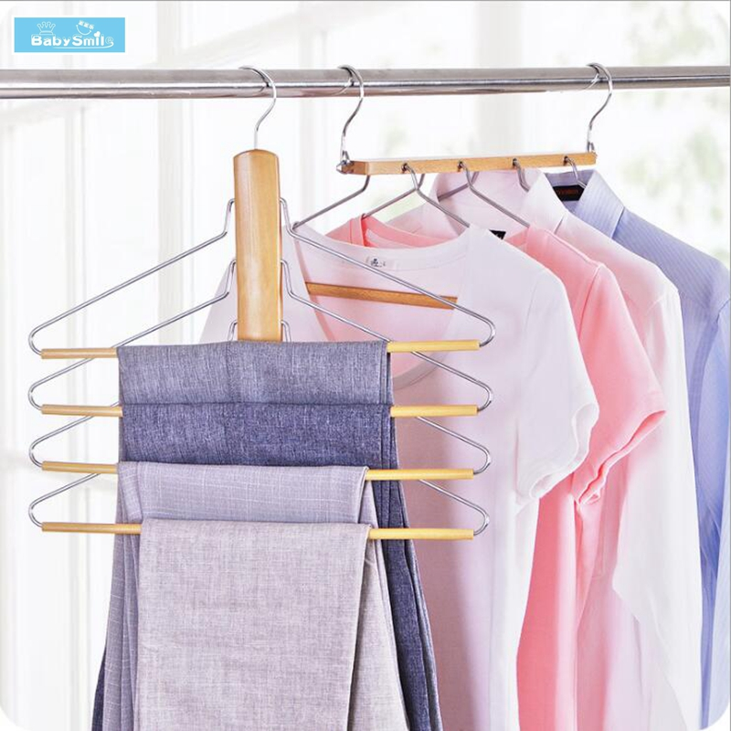 Multi-layer Hanger Trousers Rack Wooden Towel Hangers Multifunction Solid Wood Clothes Racks for Home Creative Magic Organizer