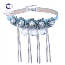 HanCheng New Fashion Tassel PU Belt Waterdrop Created Crystal Pearl Flower Choker Necklace Women Necklaces collar jewelry bijoux(China)