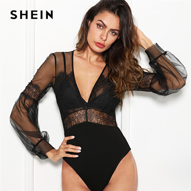 3958dcb09f SHEIN Black Sexy Elegant Plunge Neck Lace Insert Sheer Mesh Puff Sleeve Mid  Waist Bodysuit Summer Women Going Out Bodysuits