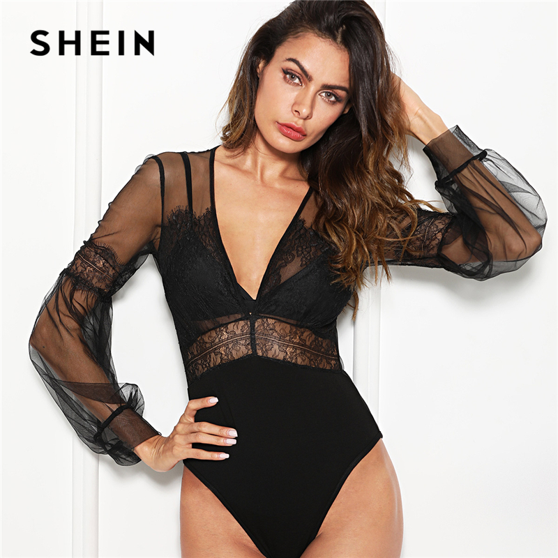 SHEIN Black Sexy Elegant Plunge Neck Lace Insert Sheer Mesh Puff Sleeve Mid Waist Bodysuit Summer Women Going Out Bodysuits