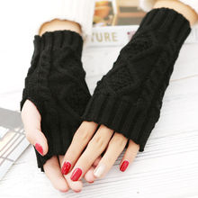 Fashion Women Arm Warmer Fingerless Knitted Long Warm Gloves Mittens Winter Pair