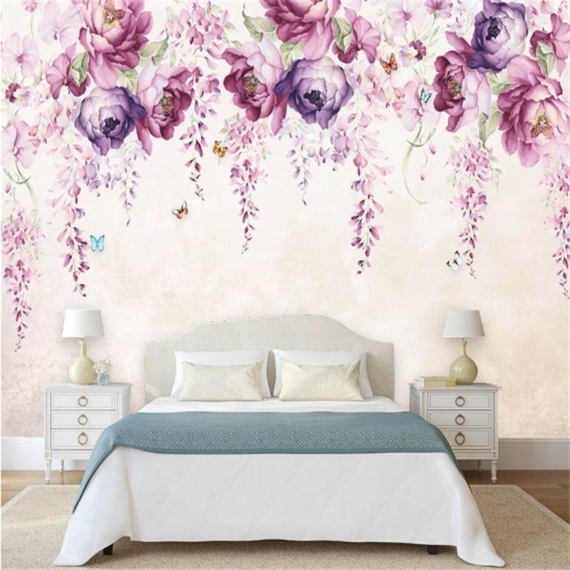 Custom Modern 3d Photo Non-woven Wallpaper Wall Murals 3d Wallpaper Hand-Painted Violet Peony Floral Wallpaper For Sofa wall