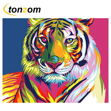 RIHE Colorful Tiger Drawing By Numbers DIY Animal Painting Handwork Cuadros Decoracion Oil Art Coloring Home Decor