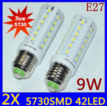 2pcs/lot High Power 9W 42*5730 SMD E27 E14 B22 Corn Bulb 360 degrees LED Lighting Warm/Cool White