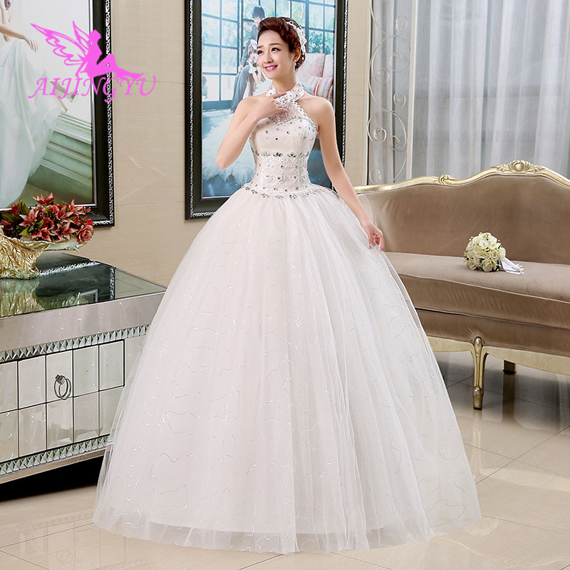 AIJINGYU 2018 elegant free shipping new hot selling cheap ball gown lace up back formal bride dresses wedding dress WK522-in Wedding Dresses from Weddings & Events    1