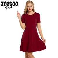 Zeagoo Marka Dress Casual O-Neck Divider-Style Stałe Krótkim Rękawem Sukienka Lato Plus Rozmiar Elegancki Vestidos de Fiesta