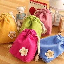 100pcs Flannelette Floral Button Decor Women s Mini Phone Pouches Small Organizer Storage Bag Girl Travel