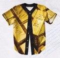 Real USA Size Custom made Fashion 3D Sublimation Print Gold Bricks Baseball Jersey Plus Size