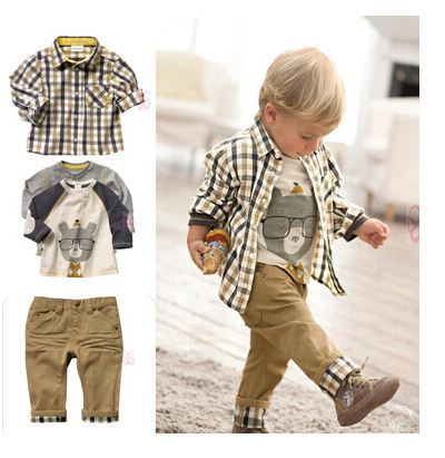 1 set Retail top quality children clothing set boy's plaid 3 pcs set overshirt+tees+pants autumn baby wear YCZ020