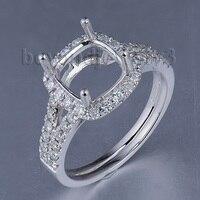 Brilliant Cushion 8mm Platinum Gold Semi mount Ring PT900 Full Cut Diamond Wedding Ring SR00233A