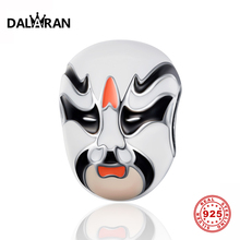 DALARAN 925 sterling silver beads face mask charm ladies jewelry wild DIY big hole accessories