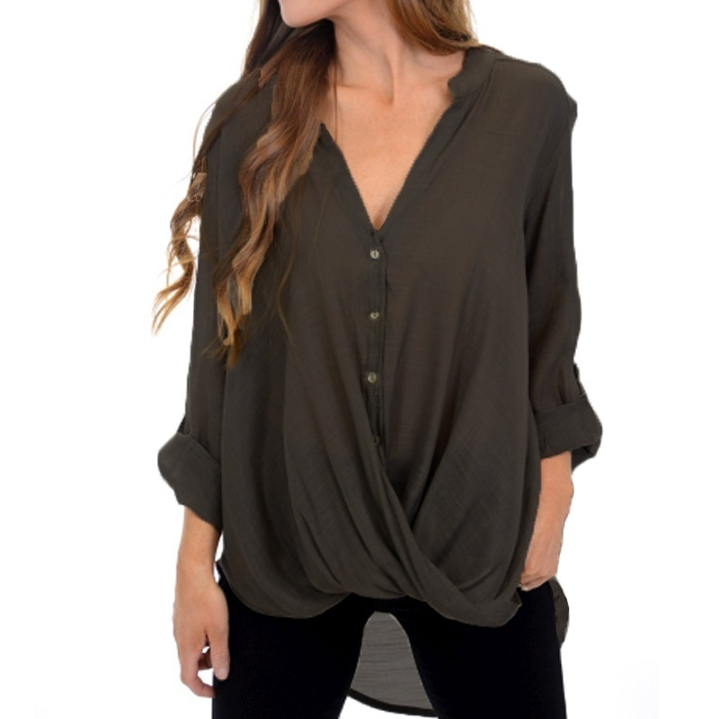 Chic Loose Festivals Classics Comfort Elegance Chiffon Blouse Women Daily Casual Plus Size Tops Cute V Neck 3/4 Sleeves Shirt