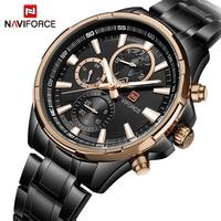 Naviforce Top Luxury Brand Fasion Black Quartz Watch Stainless Steel Sport Male Clock Mens Wristwatch Watches