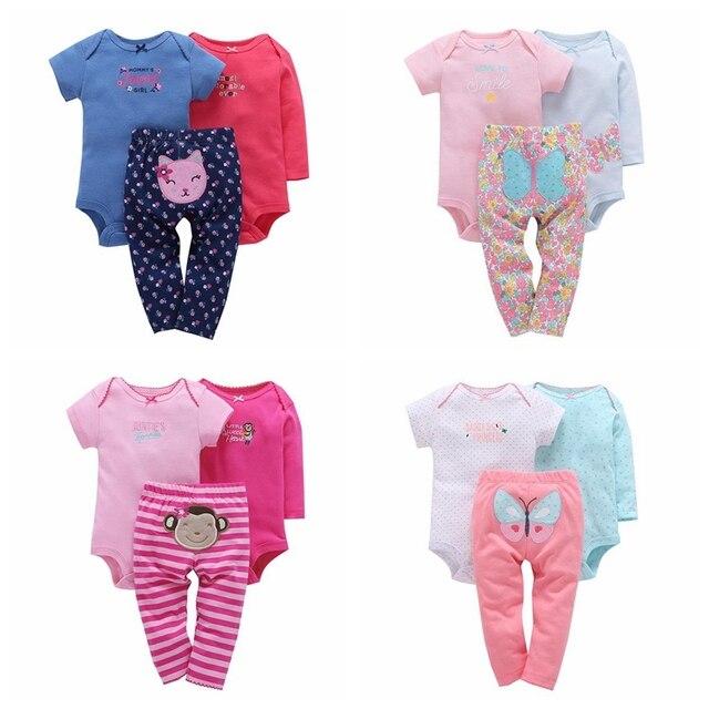 Bebê da menina do menino roupas definir borboleta (manga longa + manga  curta + calça d233f0672c1e4