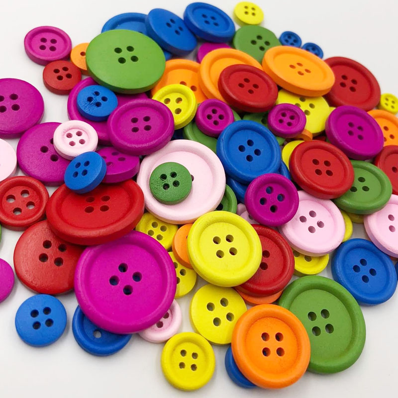 50Pcs 4 Holes Mixed Size Wood Buttons For Craft Round Sewing Buttons Scrapbook DIY Home Decoration Accessories WB535