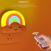 LED Clouds Rainbow Light Light Sensor LED Night Light Creative Children's Lamp Plug Energy Saving Cartoon Wall Lamp