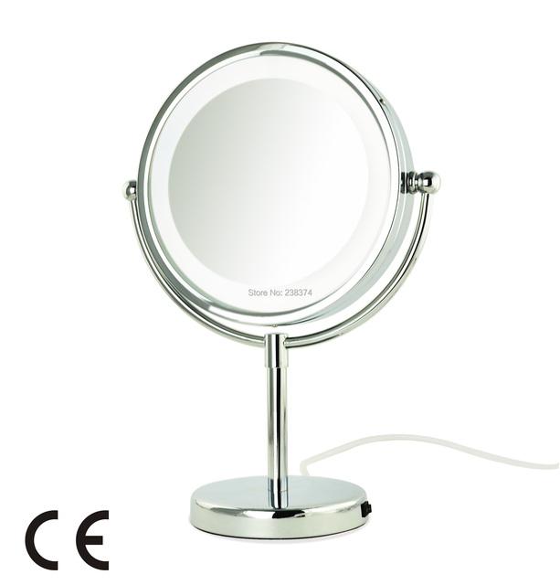 """AFSEL Calidad Superior 8.5 """"LED Mesa 5x de Aumento Espejo iluminado Espejo de Cosmética Espejo de Maquillaje Doble Cara Espejo Dama de Belleza"""
