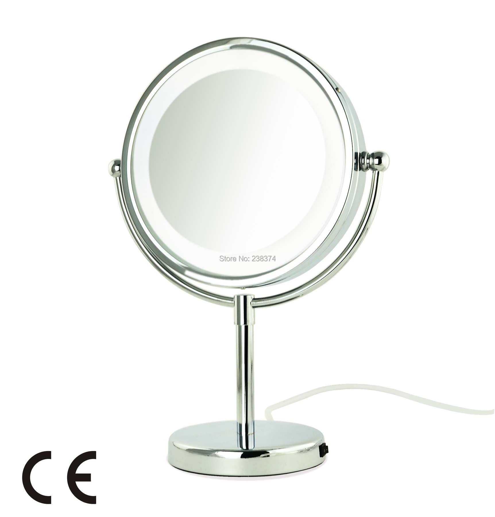 AFSEL Superior Quality 8.5 LED Table Mirror lighted Cosmetic Makeup Mirror Double Sided 5x Magnification Lady Mirror Beauty