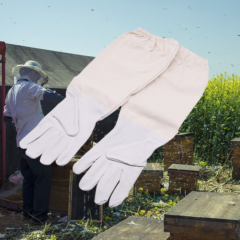 Beekeeping Gloves Leather Canvas Protective Apiarist Tool Bee Supplies Q