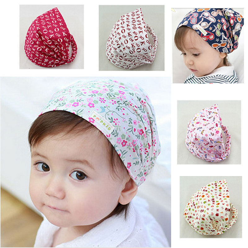 Kawaii Infant Baby Girl Bandana Hats Kid Newborn Flower Headband Hair Wear Accessories Headscarf Headwears 4 Colors