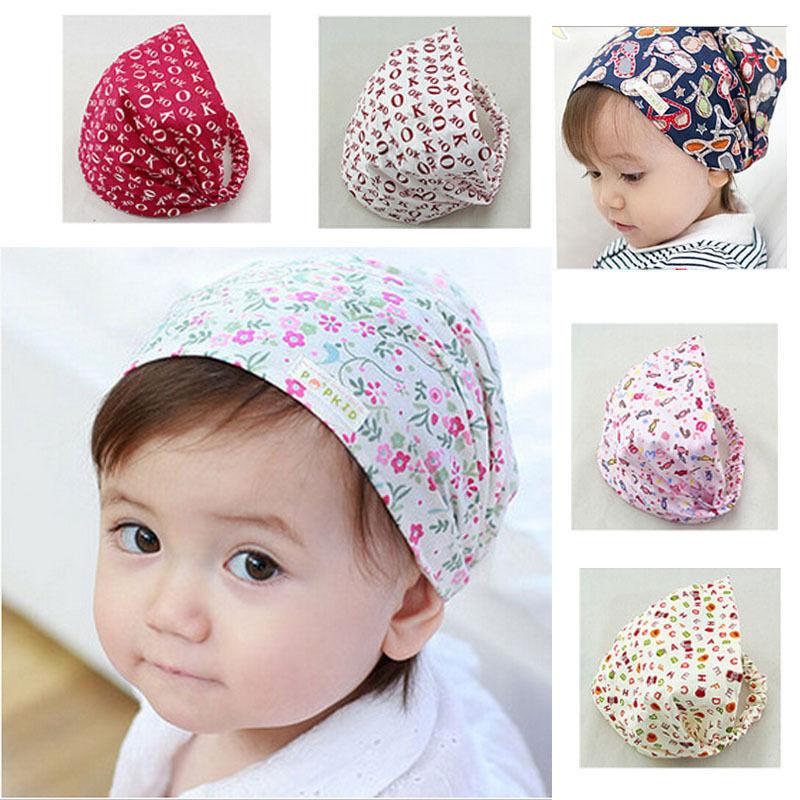 Kawaii Infant Baby Girl Bandana Hats Kid Newborn Flower Headband Hair Wear Accessories Headscarf Headwears 4 Colors
