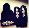 Women's Fashion Warm Knitted Hat Glove Sets Womens Hat Set with  Rhinestone Baseball Cap with Accessory