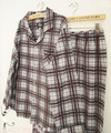 Age season man 100% cotton grey red plaid classic plus-size pajamas leisurewear suit